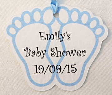 Personalised Blue Baby Footprint Favour/Gift Tags